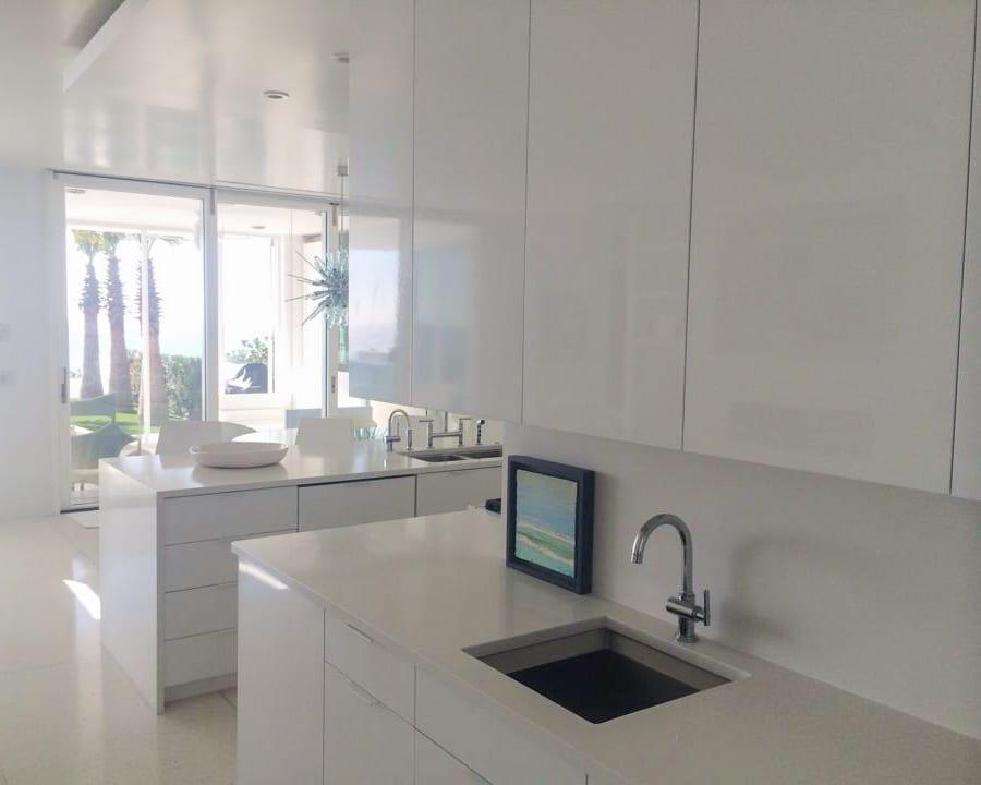Sleek White Kitchen Cabinets close up view