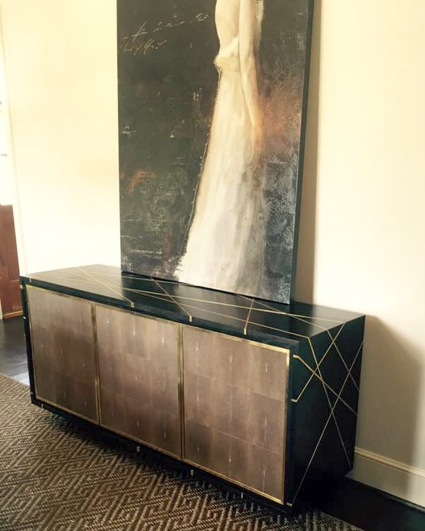 Stingray and brass inlay credenza