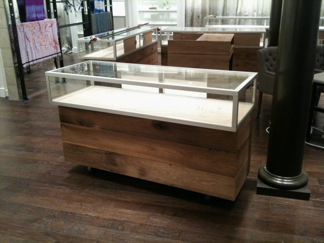 Reclaimed White Oak And Glass Jewelry Store Display Cases Mdm