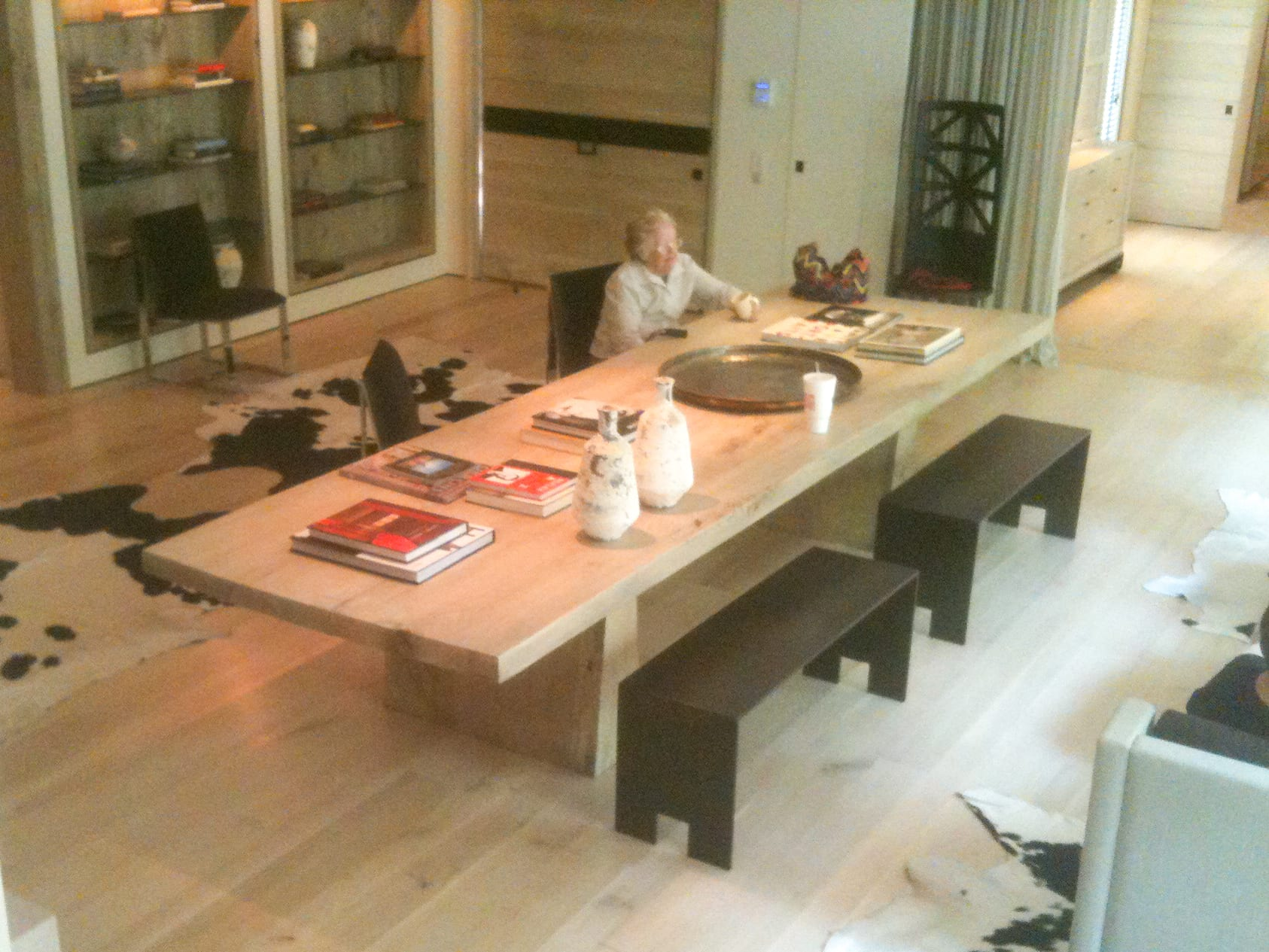 Long Wooden Dining Table with Black Benches