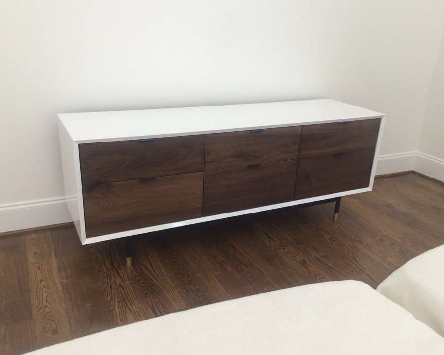 White And Walnut Tv Stand