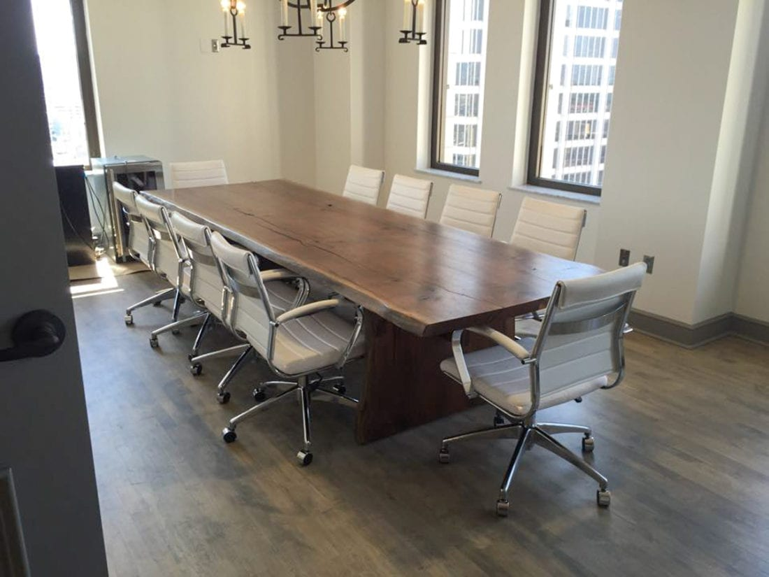 Walnut Office Desk With White Chairs