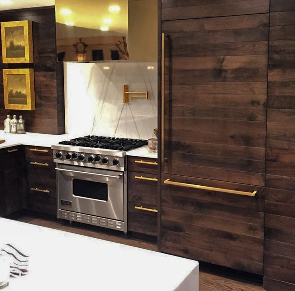Kitchen Cabinets Island Shelves Cabinetry White Walnut: Walnut Kitchen Cabinets With Gold Accents