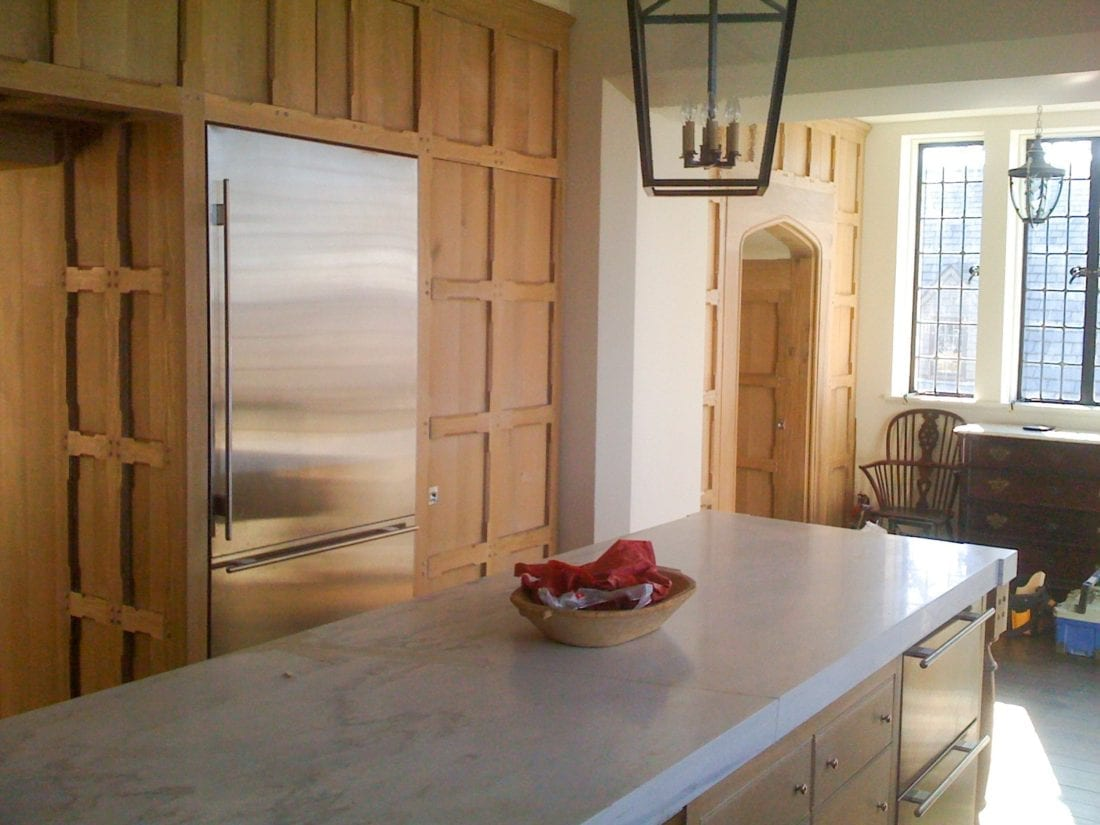 Classic Wood Kitchen with Wooden Cabinets right side view