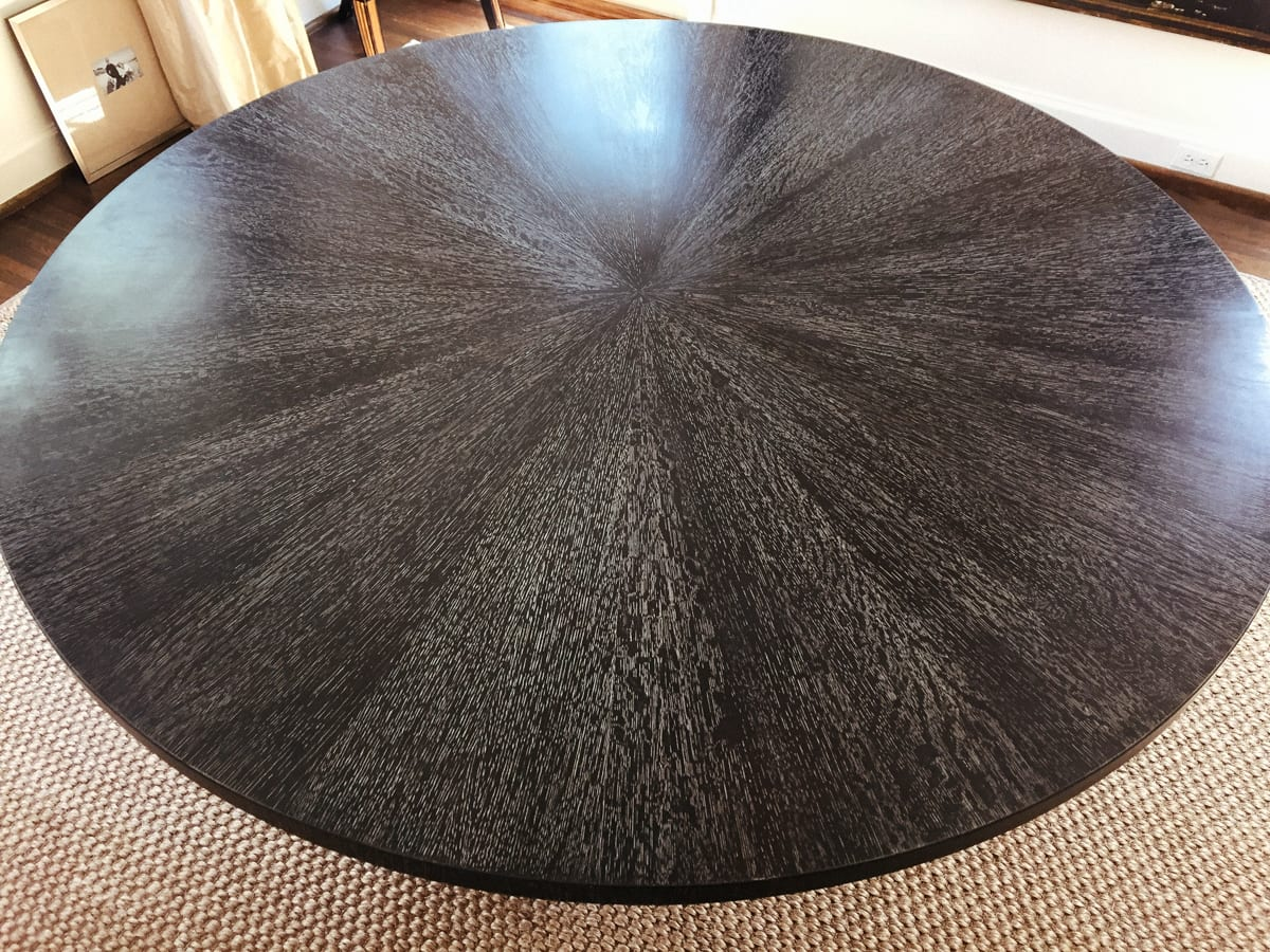 cerused black dining table with square base top view
