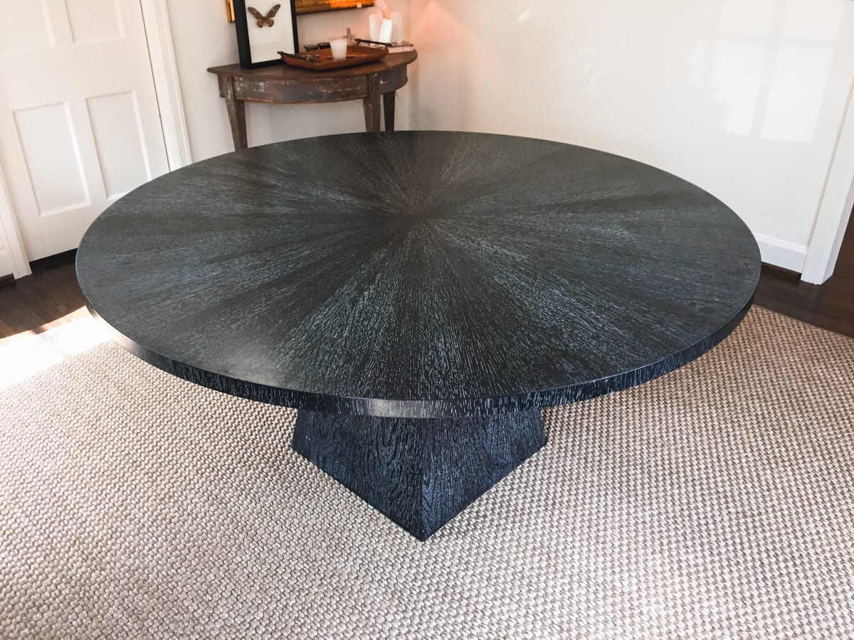 cerused black dining table with square base