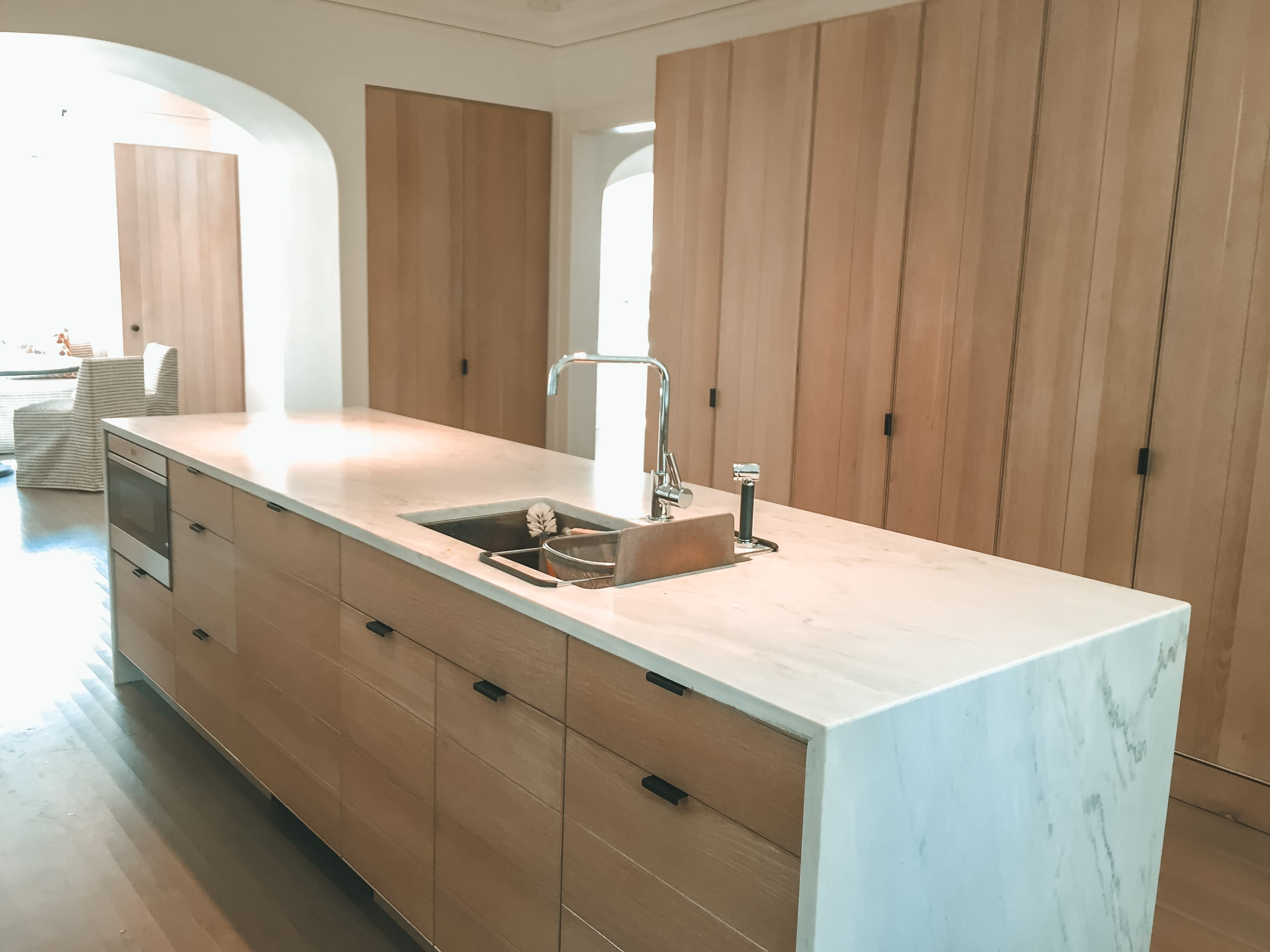 Simple White Oak Kitchen Storage Cabinetry