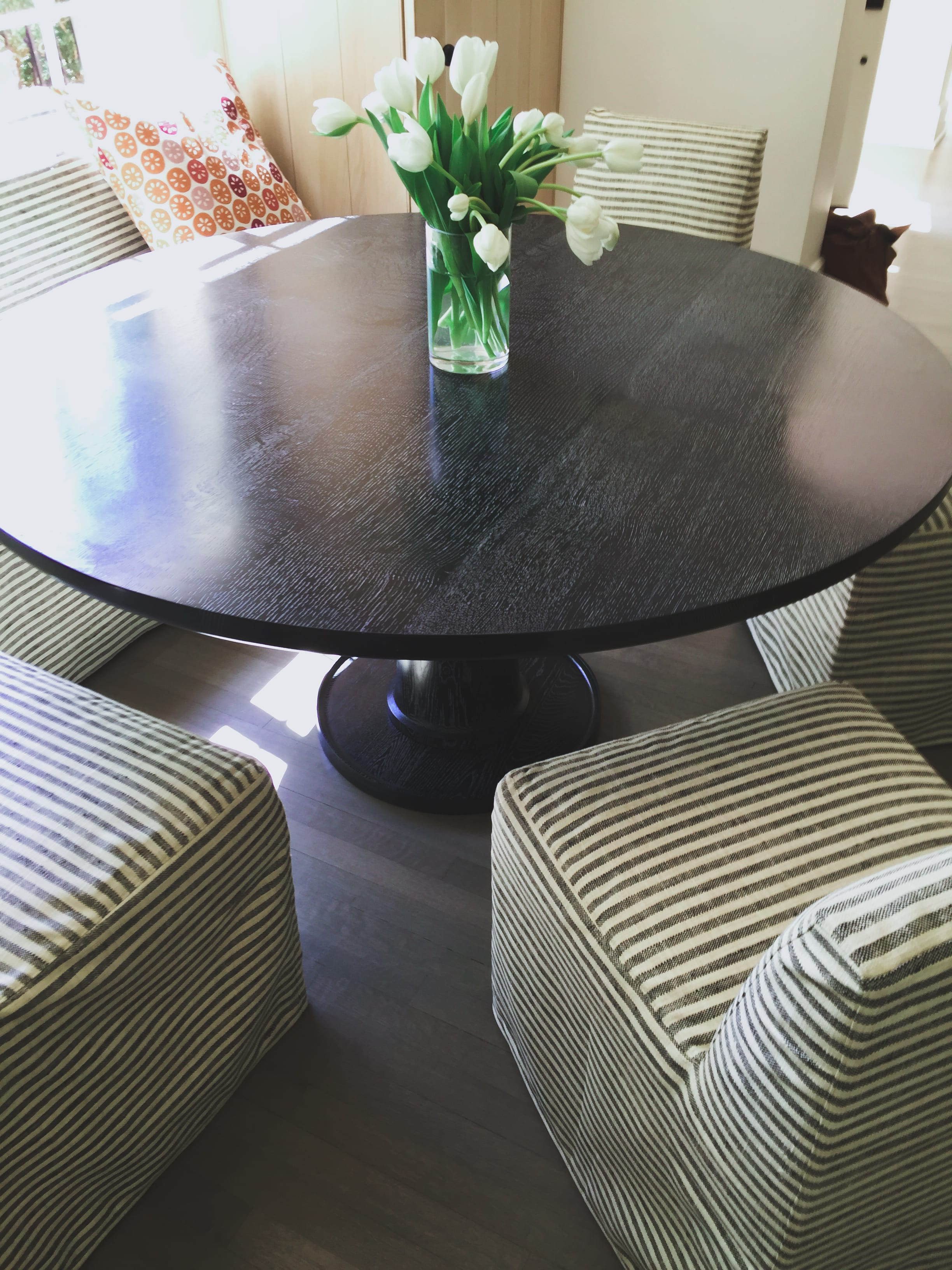 Black Wood dining table for 6 close up