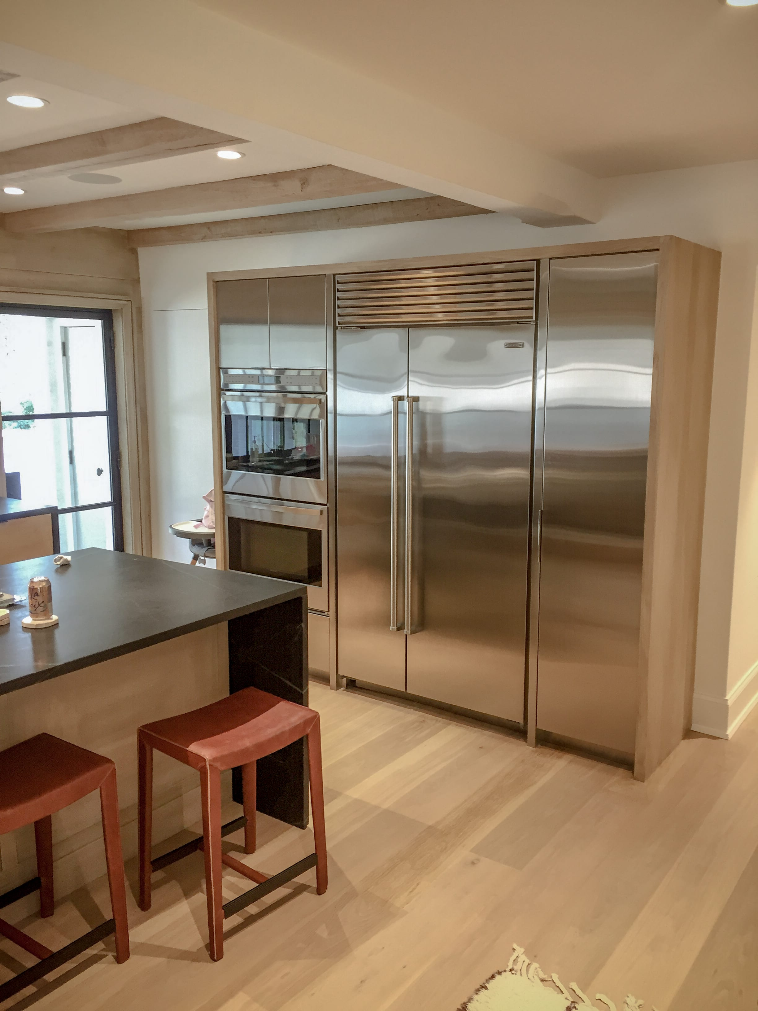 Stainless Steel Kitchen With Light Wood detailing