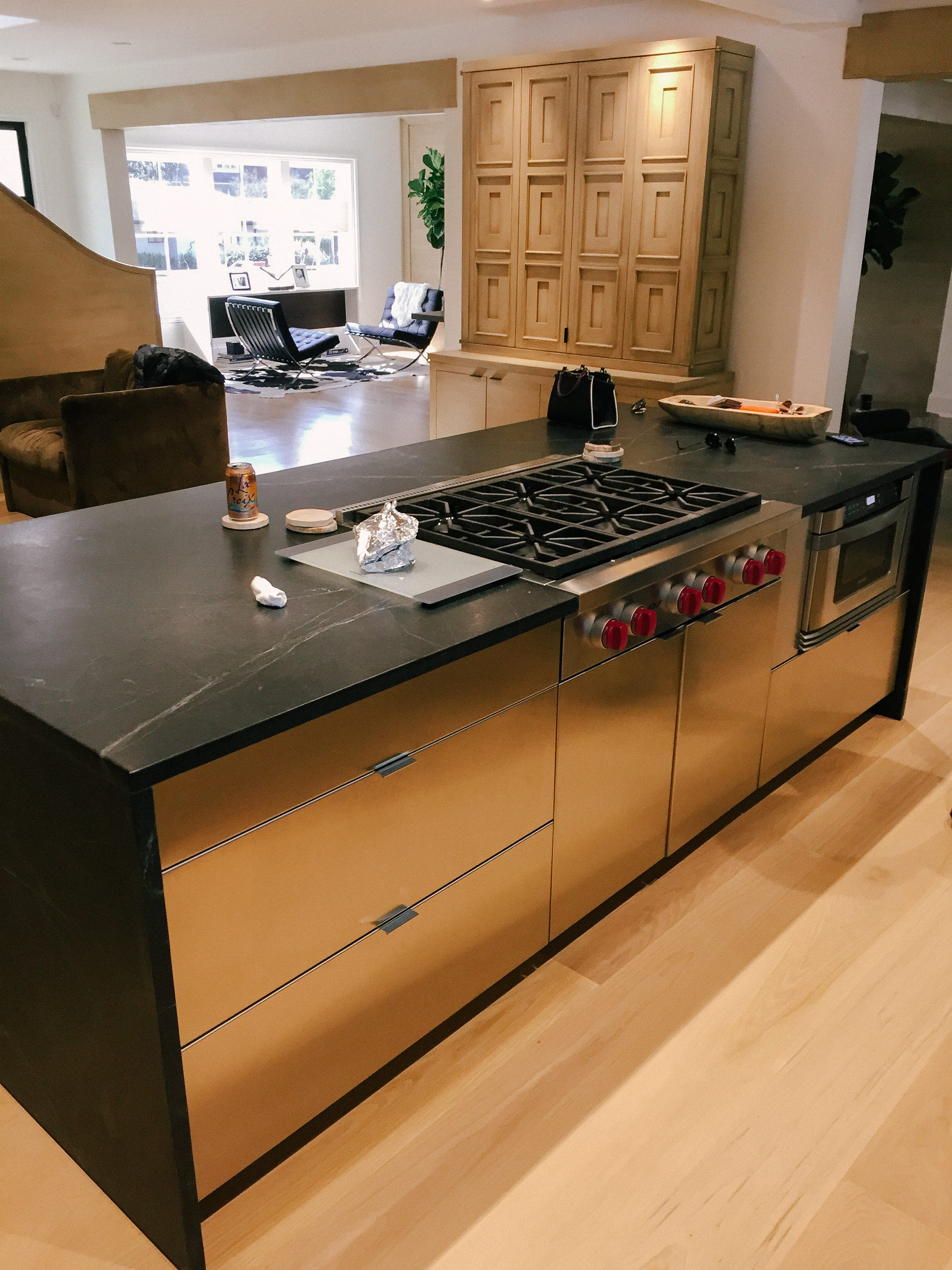 Stainless Steel Kitchen with Black Marble Countertops