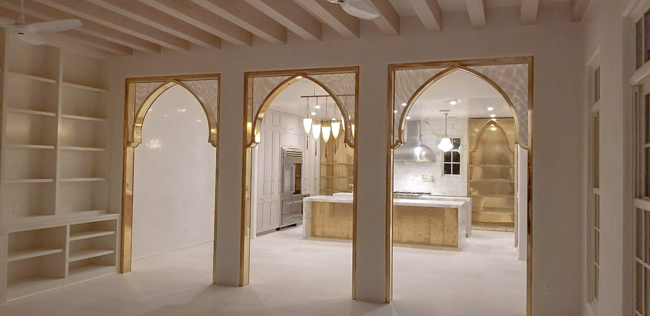 Oak and Brass Kitchen living room view