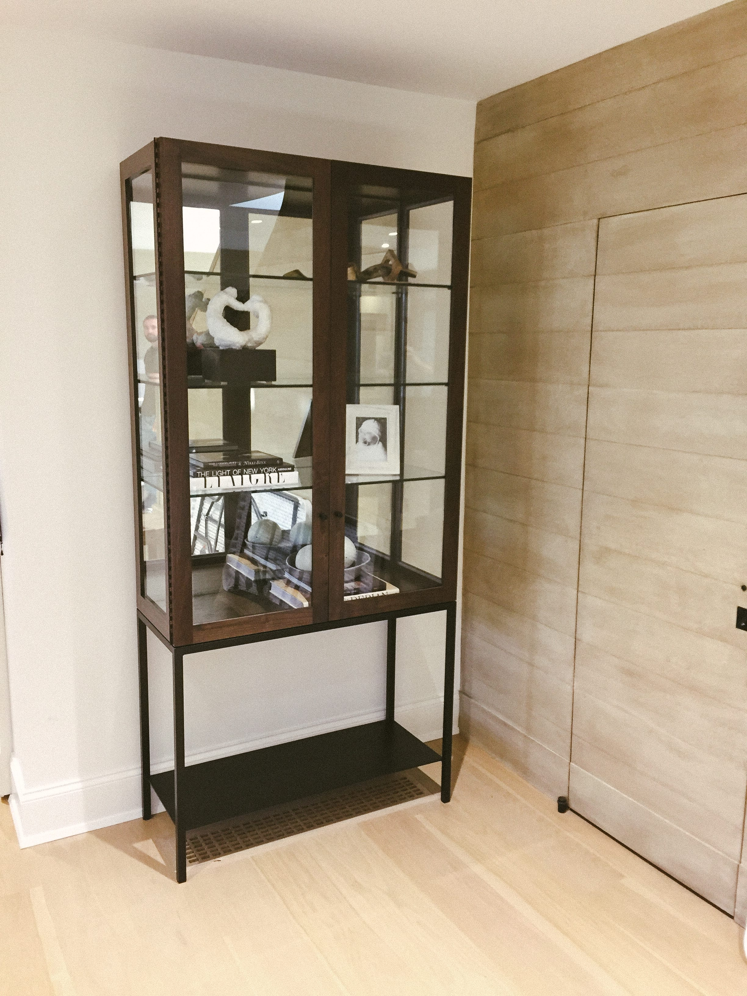 Glass Display Case with Walnut and Black Detailing