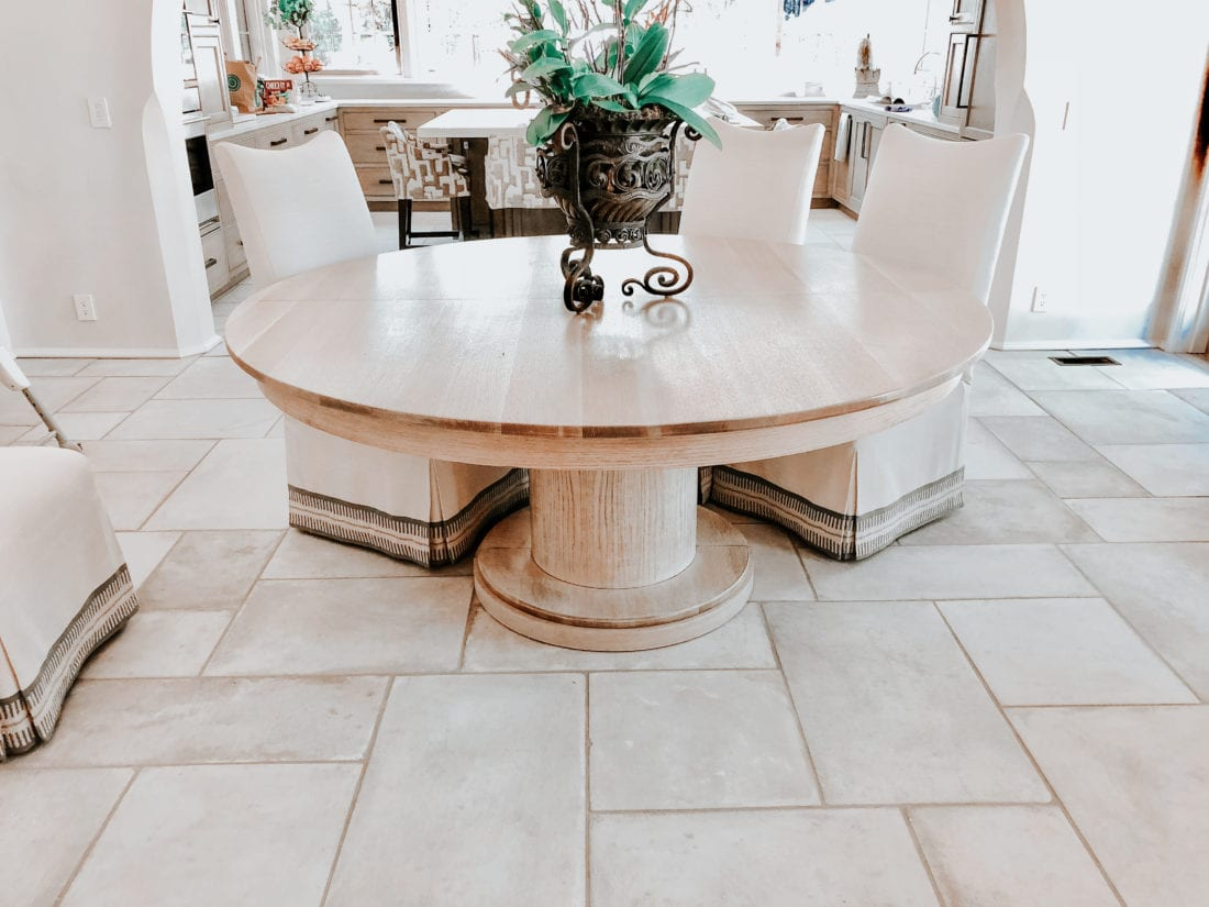 White Oak Kitchen Table With Brass