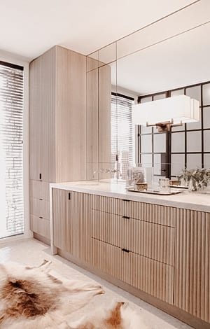 Fluted Wooden Double Vanity with matching cabinets