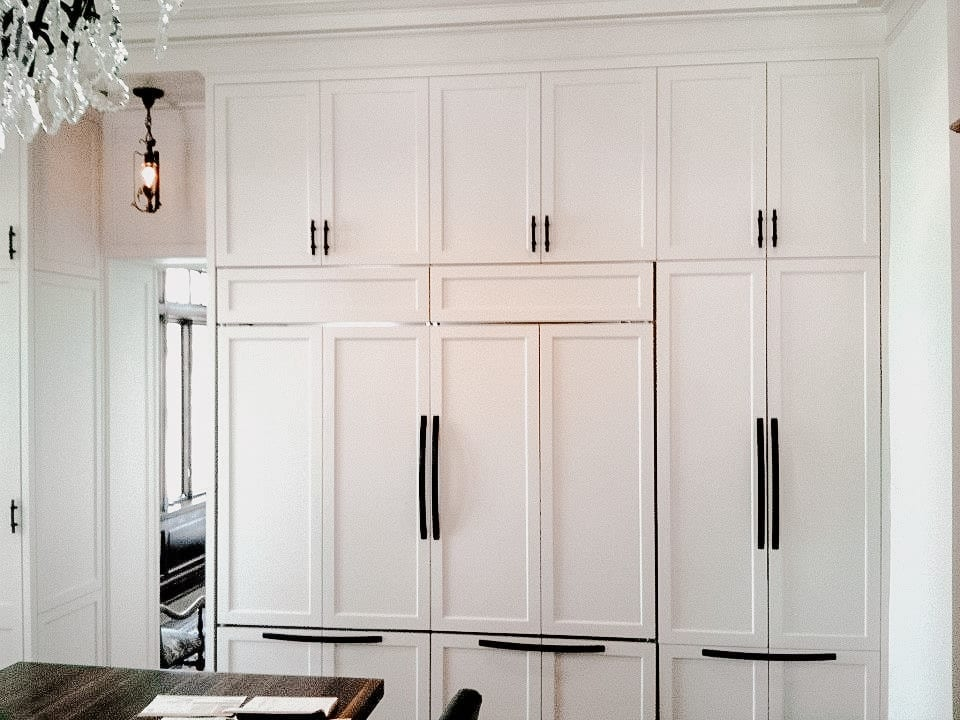 Traditional White Cabinets with Black Details
