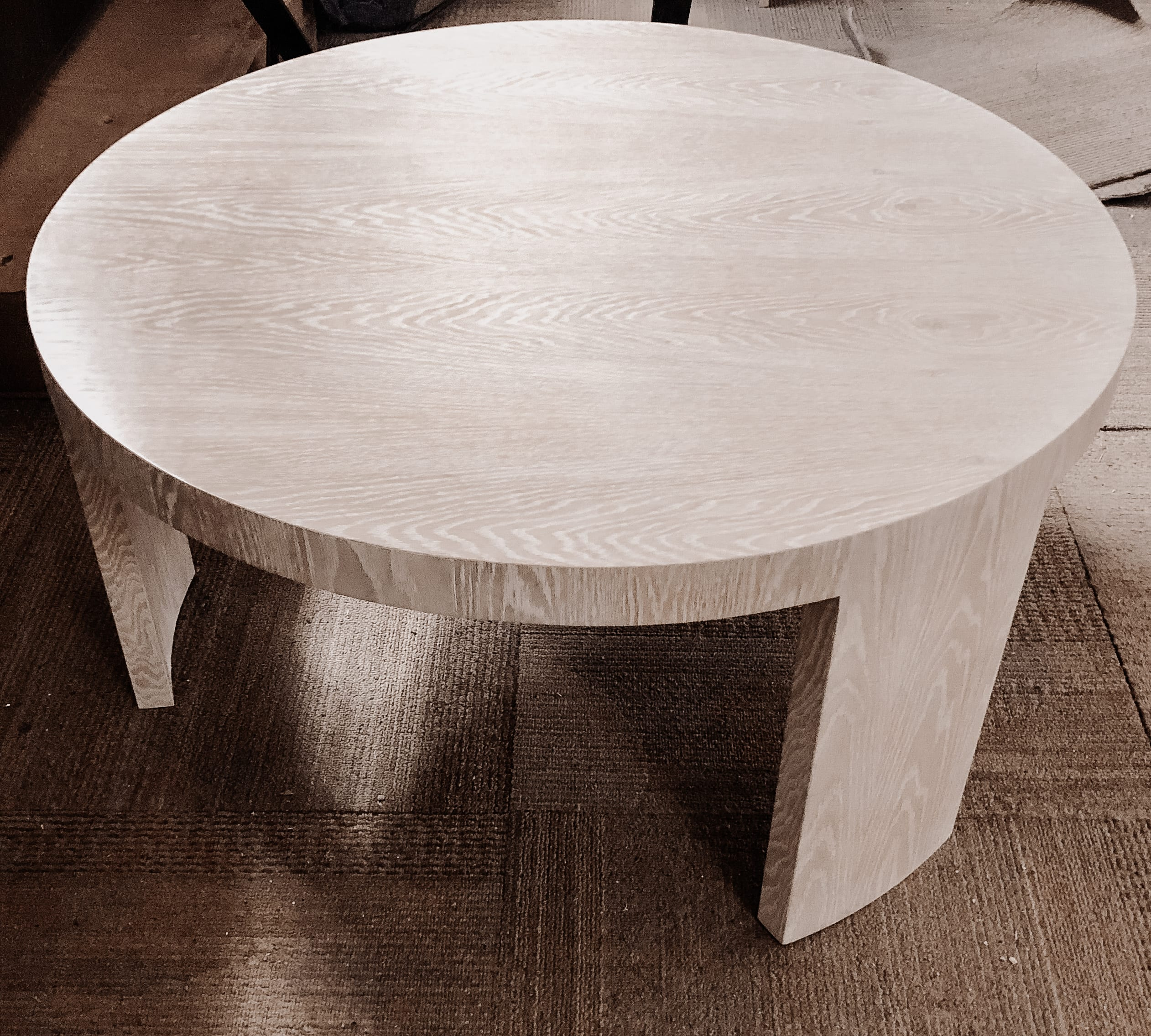 Limed white oak tripod table