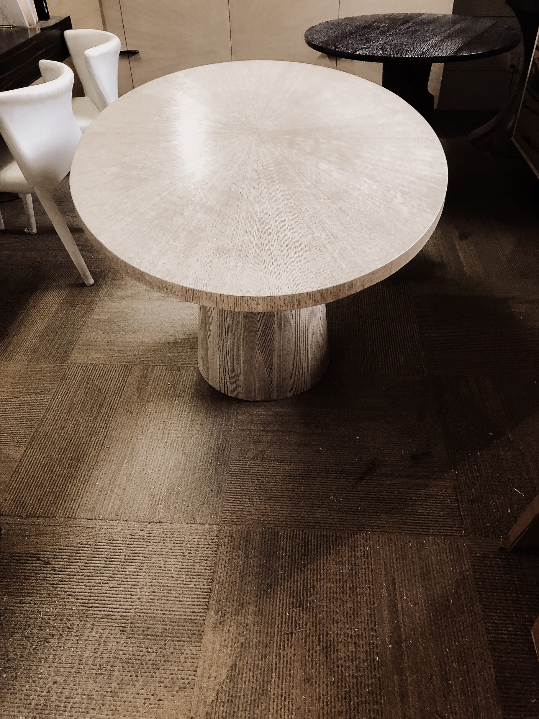 Rustic Oak circular breakfast table