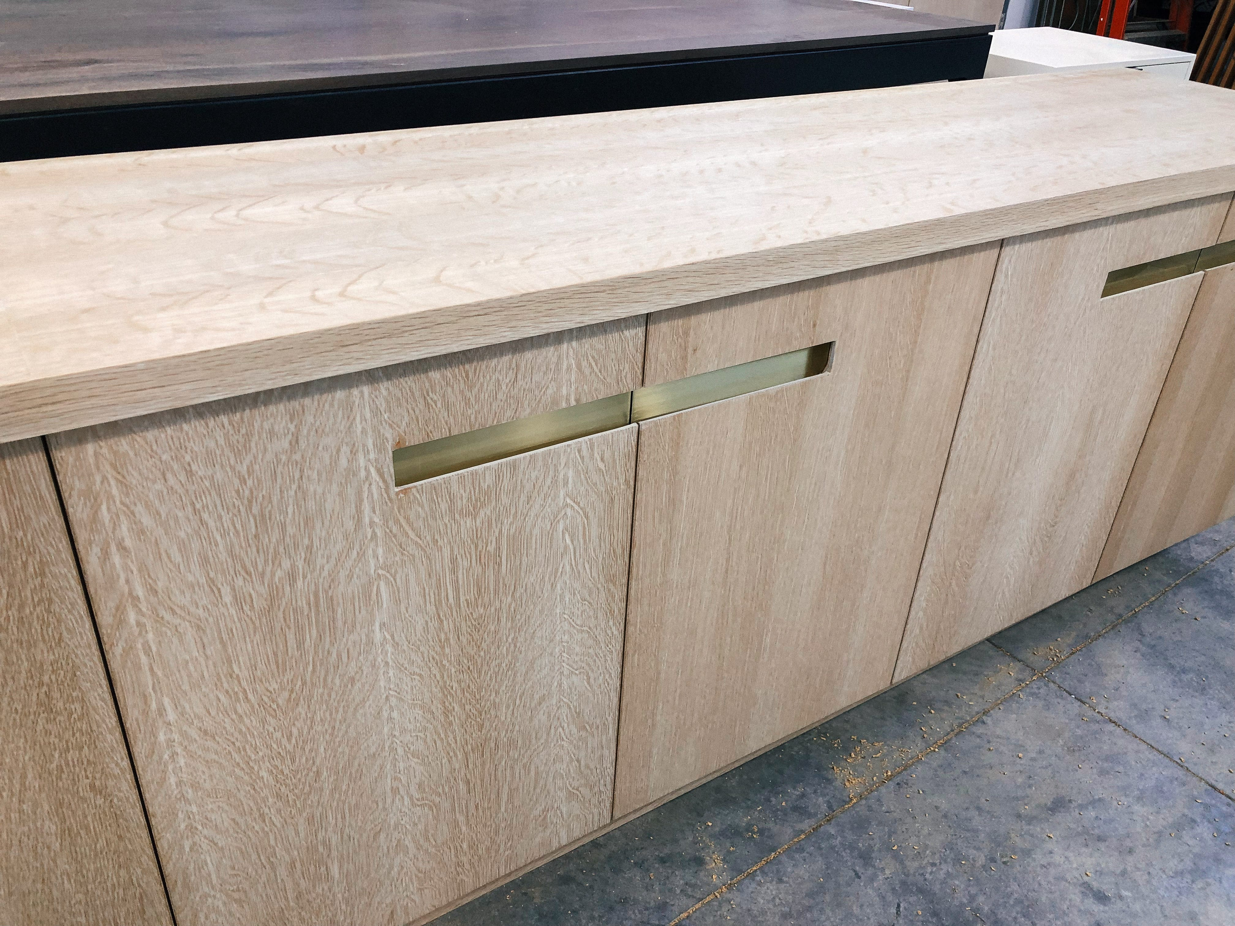 Oak and brass home office built-in
