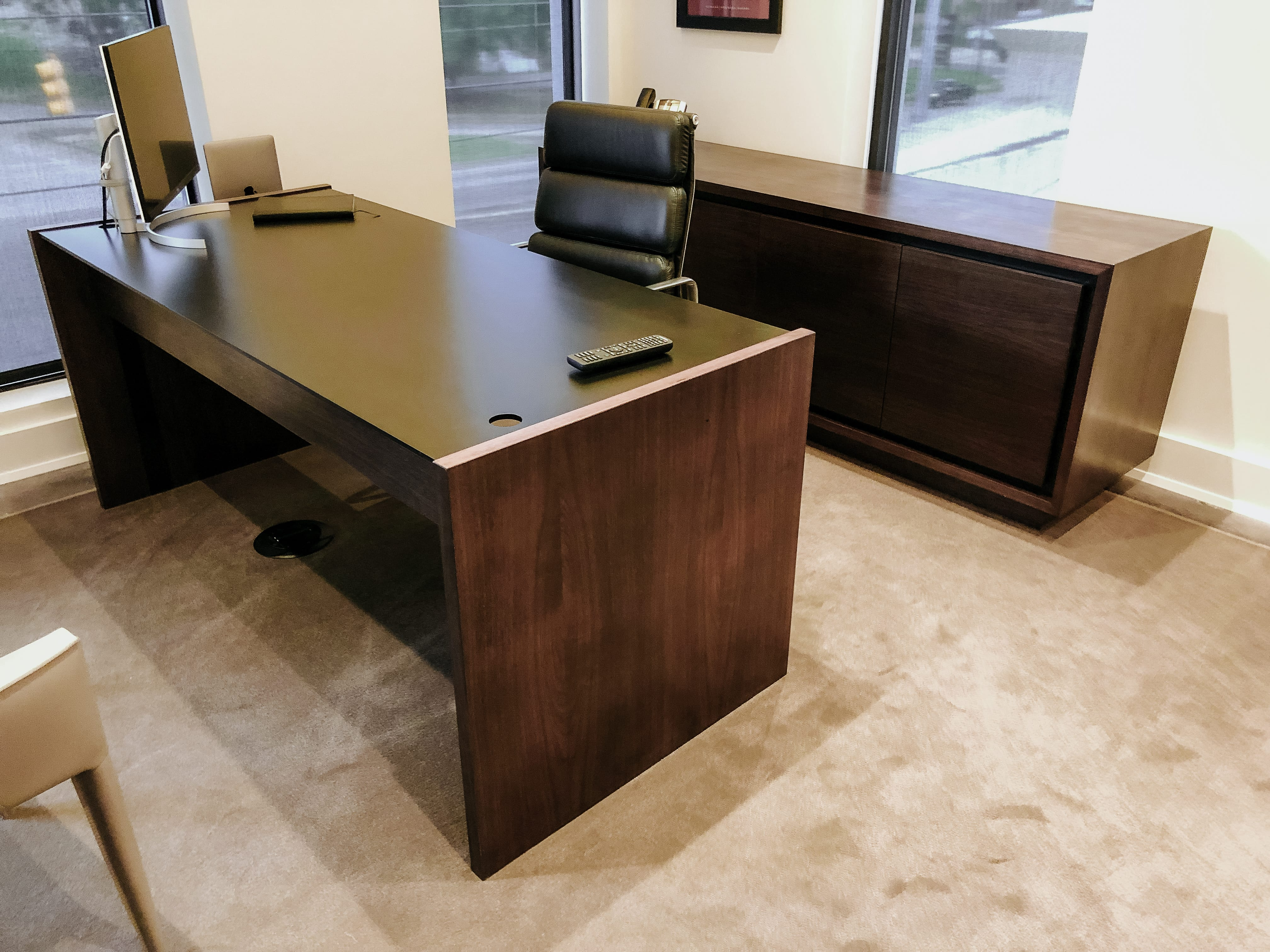 Sleek Walnut Office Desk and Matching Credenza