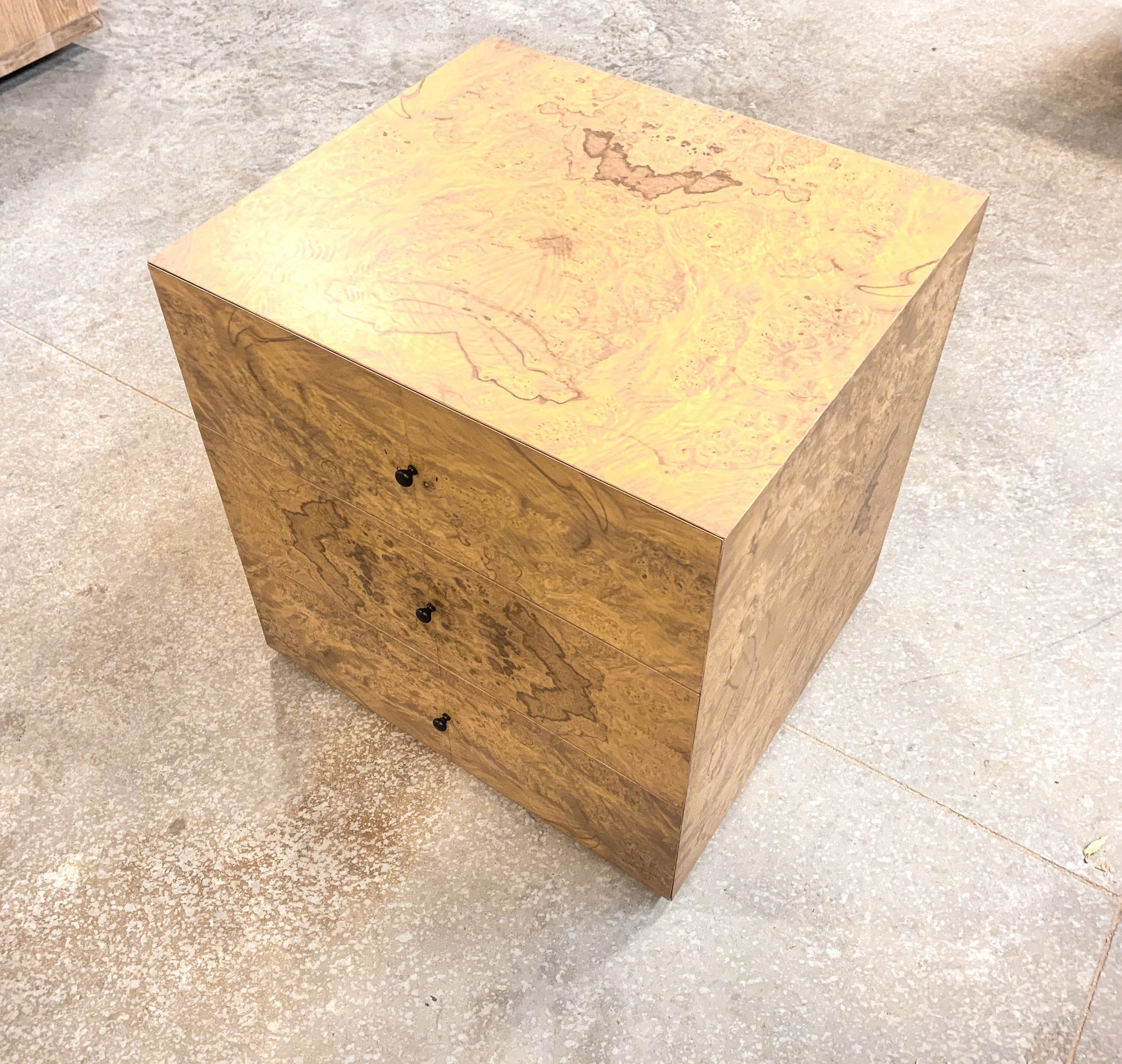 Olive ash burl side tables from top