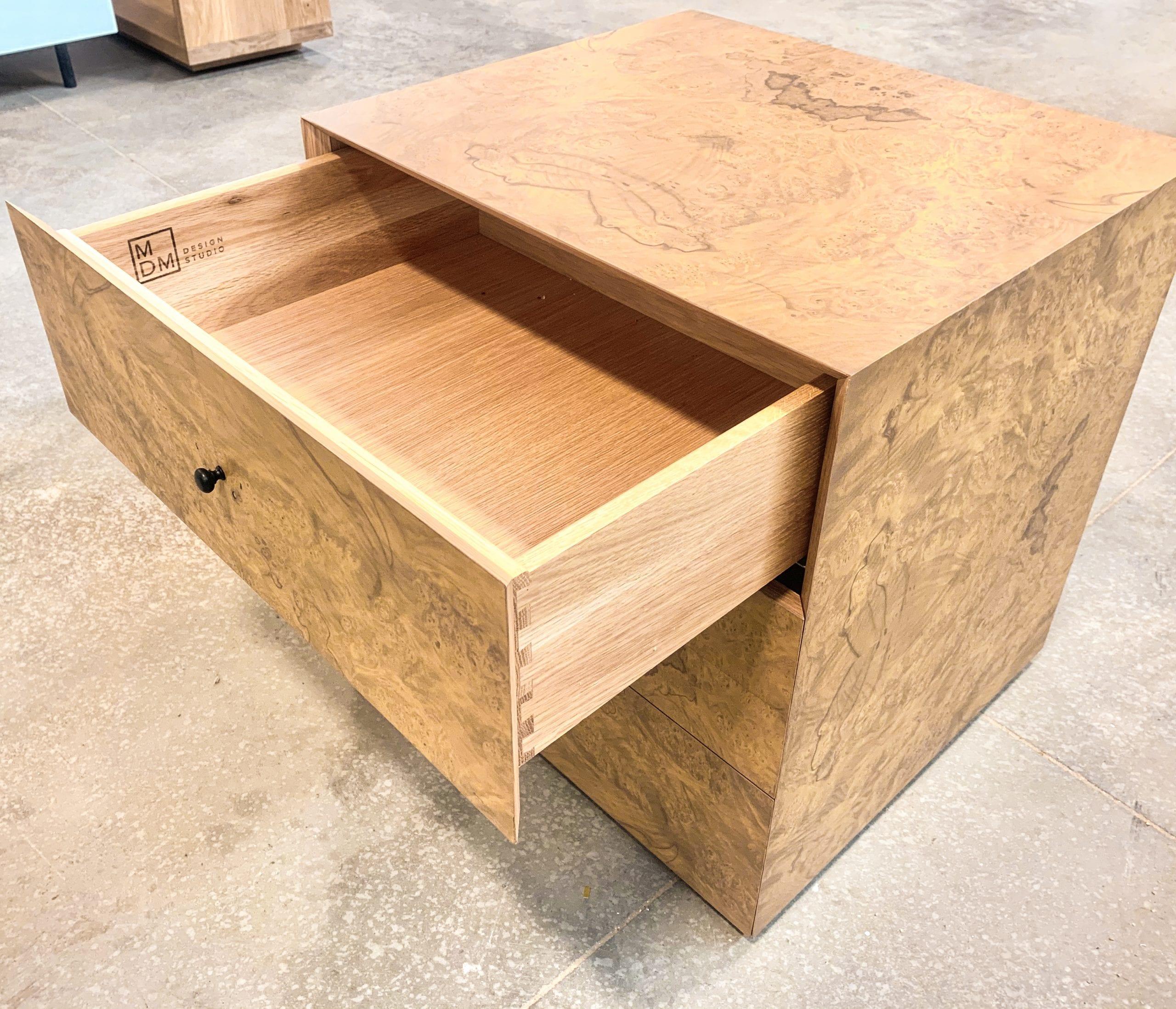 Olive ash burl side tables inside drawer