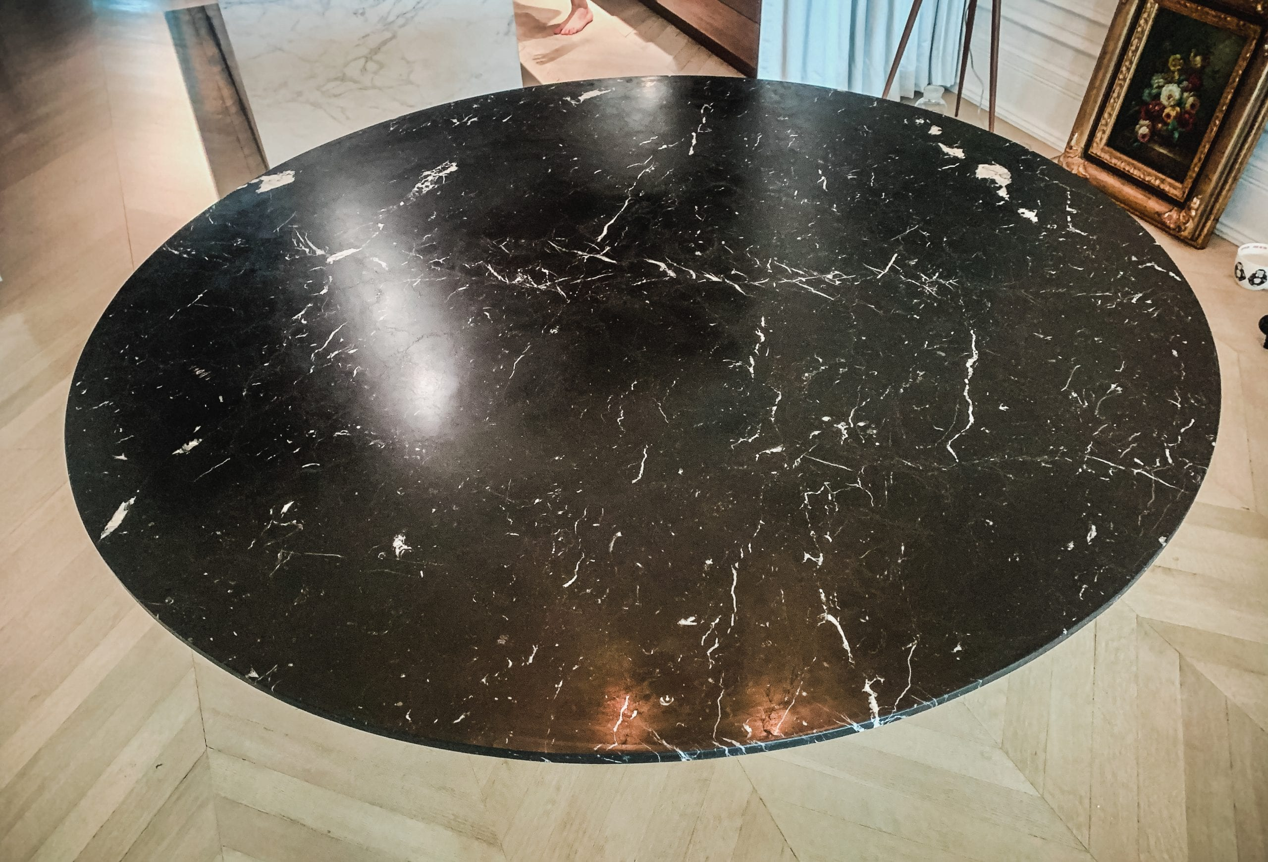 Marble and wood dining table top